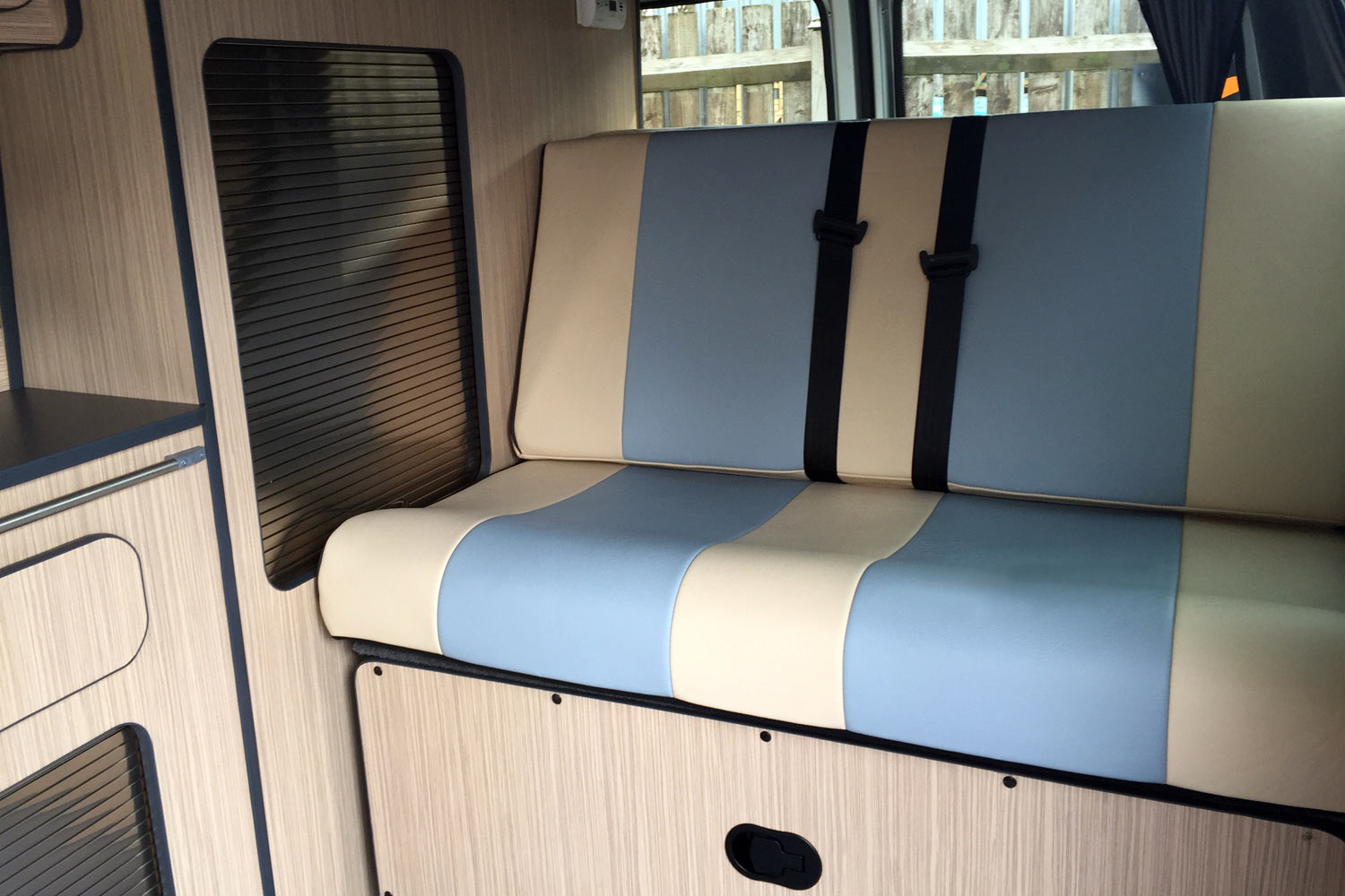 VW T5 Campervan Blue & Cream Leather